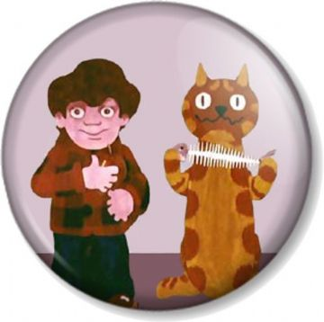 Charley Says Pinback Button Badge Cartoon Charlie Retro Public Information TV